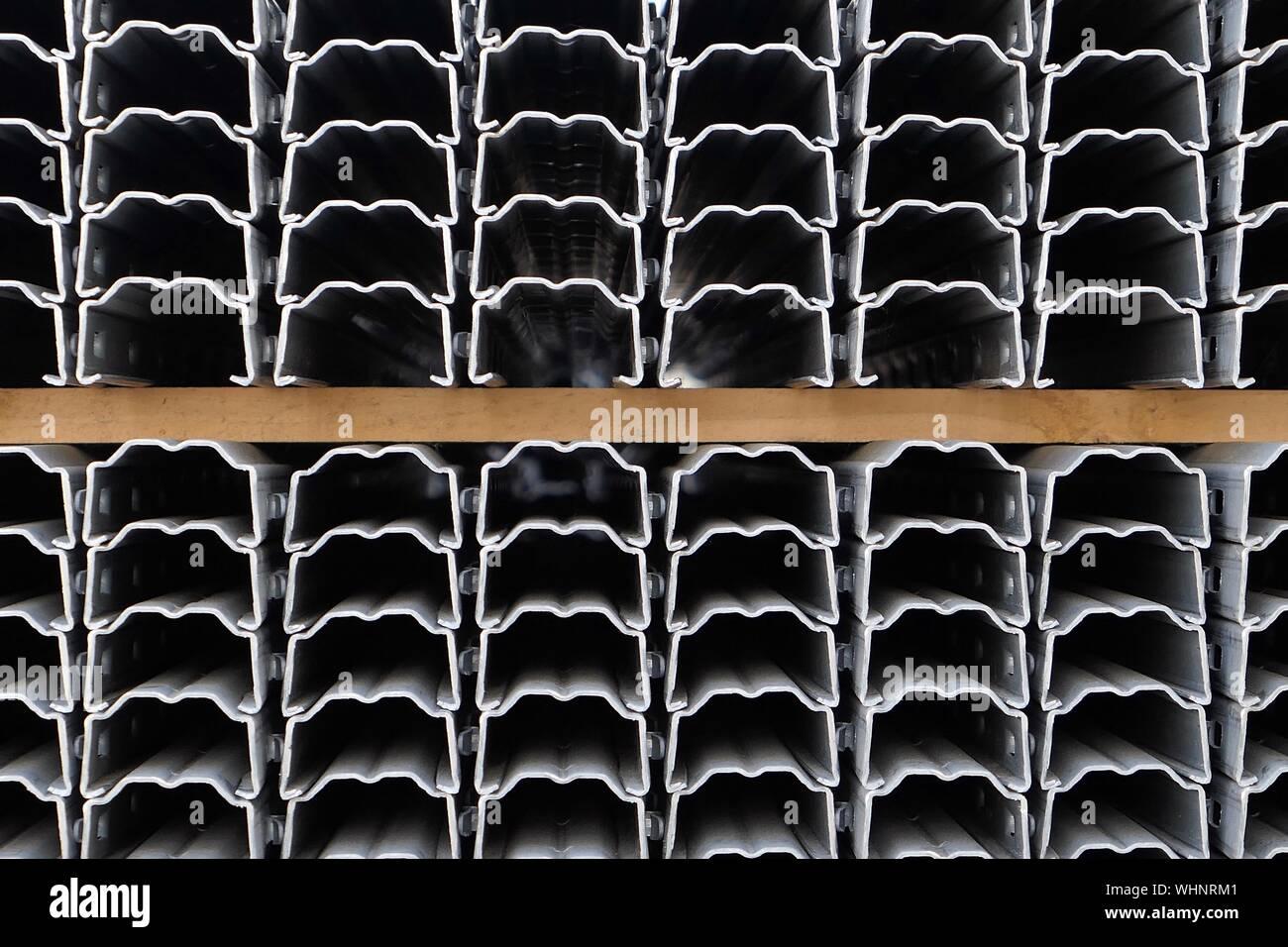 Full Frame Shot Of Metallic Batten Stock Photo