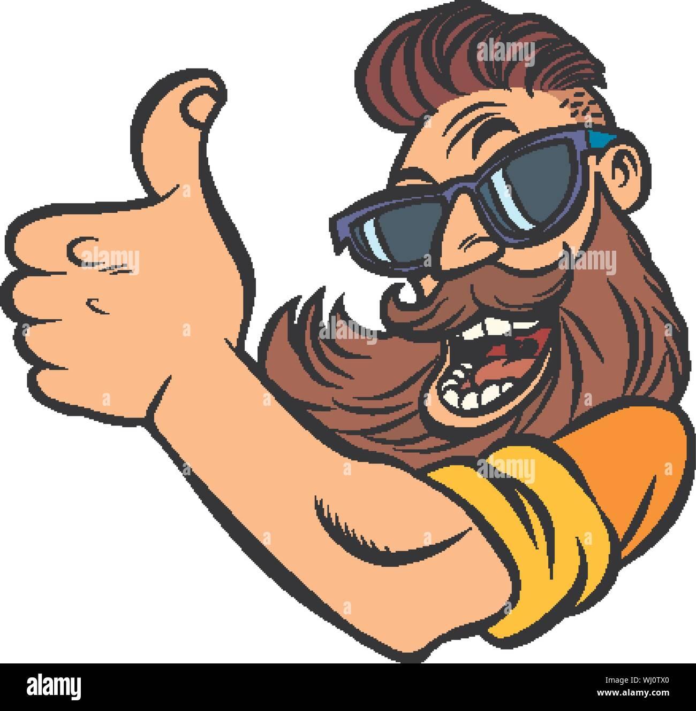hipster man bearded thumb up comic cartoon pop art retro vector illustration drawing stock vector image art alamy https www alamy com hipster man bearded thumb up comic cartoon pop art retro vector illustration drawing image269238872 html