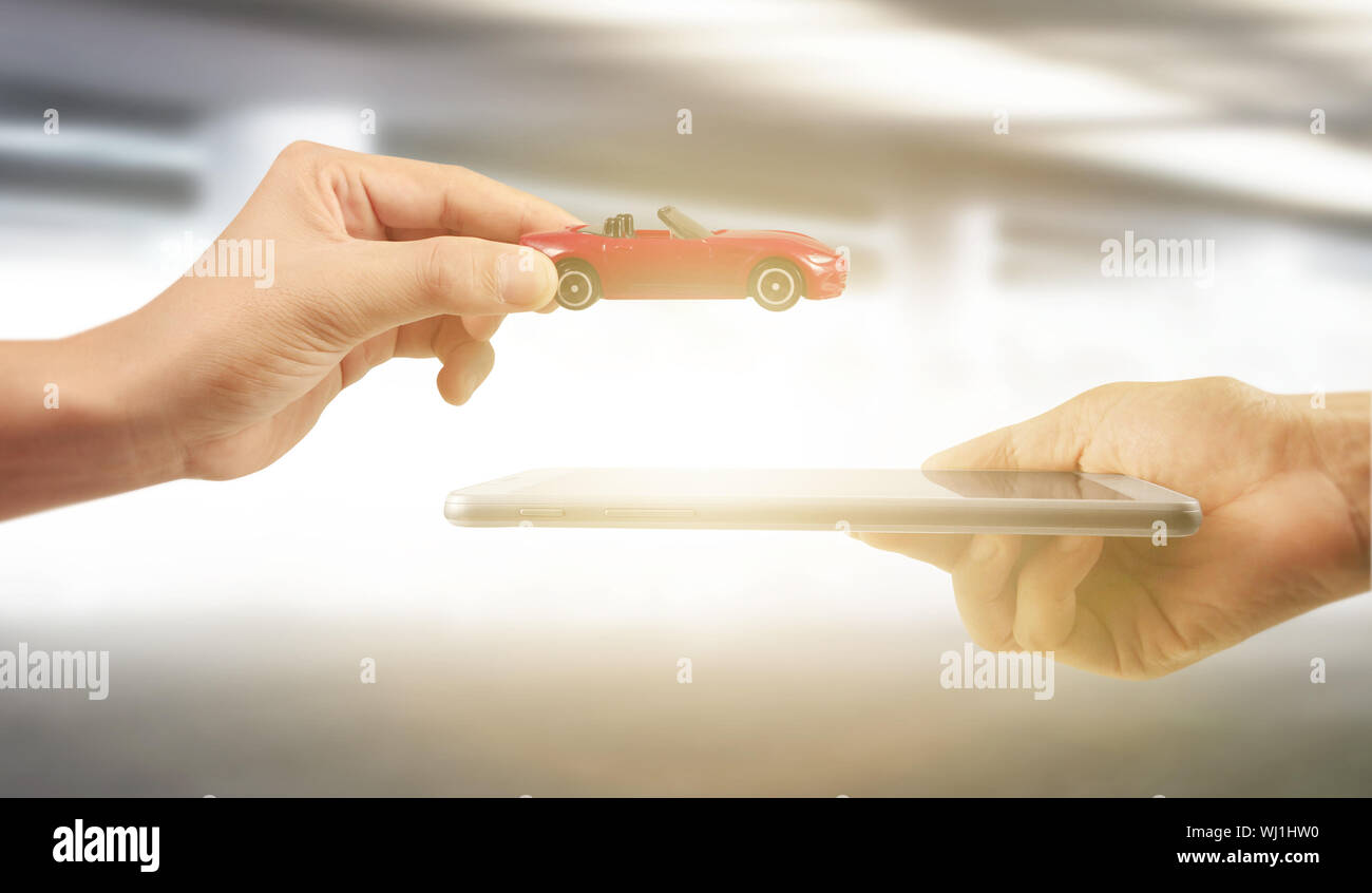 Using digital tablet in a hand palm Stock Photo