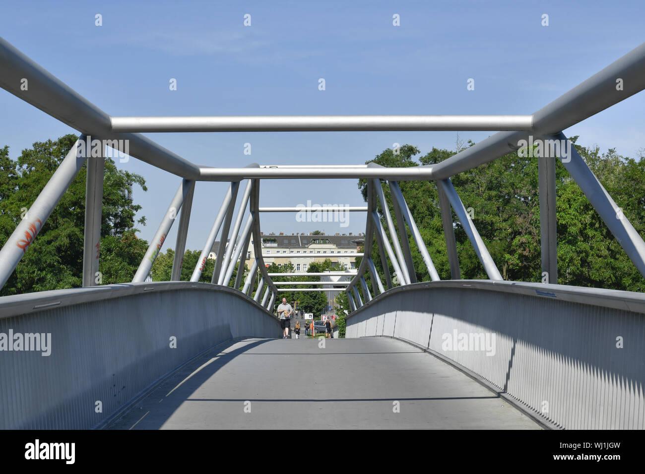 Alfred Lion Steg, Alfred Lion footbridge, Berlin, bridge, Germany, footbridge, beauty's mountain, Schoeneberger, beauty's mountain, Schöneberger, stee - Stock Photo