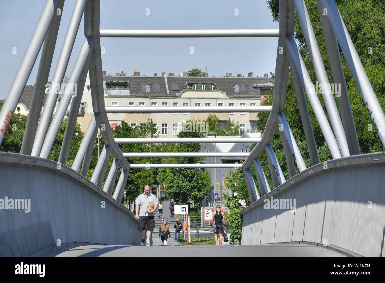 Alfred Lion Steg, Alfred Lion footbridge, Berlin, bridge, Germany, footbridge, beauty's mountain, Schoeneberger, beauty's mountain, Schöneberger, stee Stock Photo