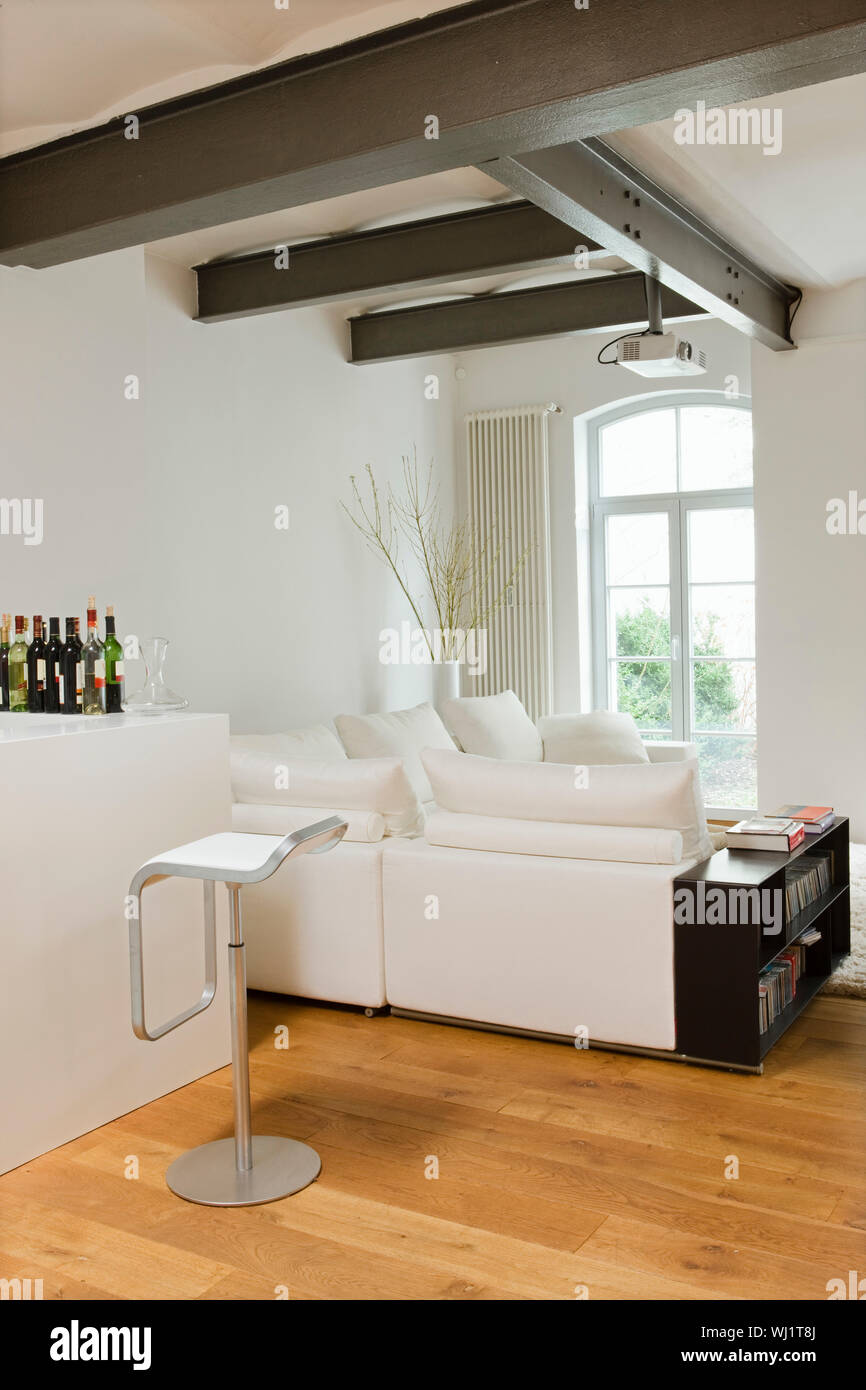 Modern Living Room With View Of Bar Area At Home Stock Photo Alamy