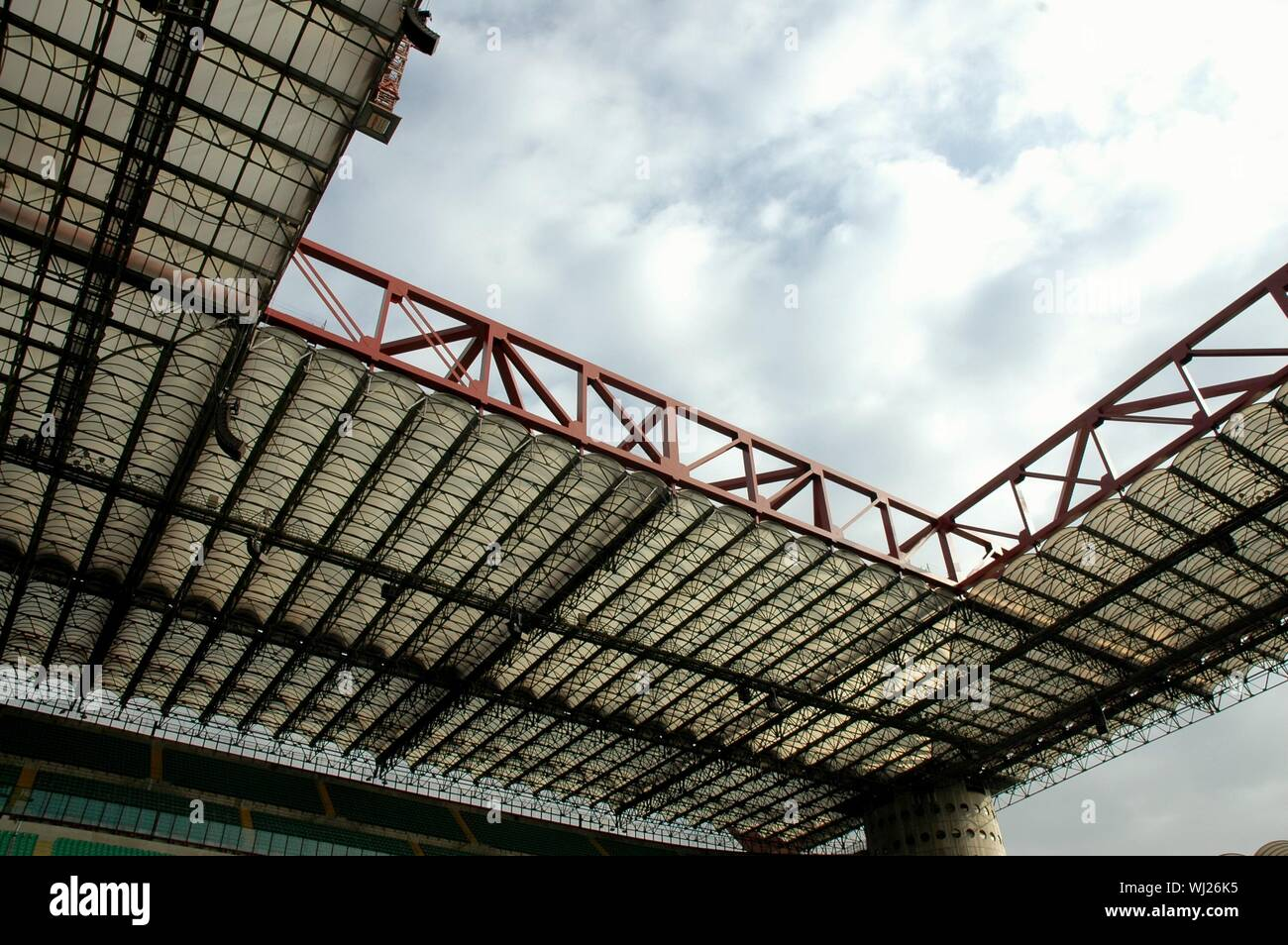 Low Angle View Of San Siro Stadium Against Sky In City Stock Photo