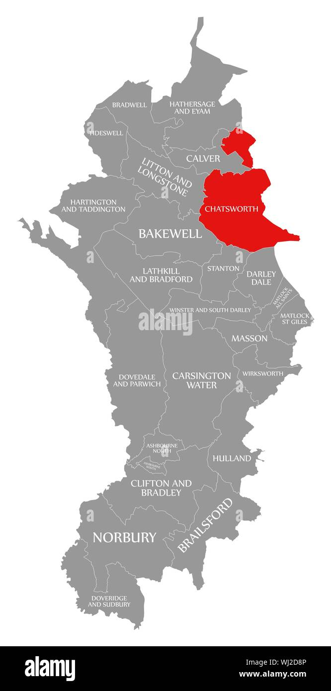 Chatsworth red highlighted in map of Derbyshire Dales ...