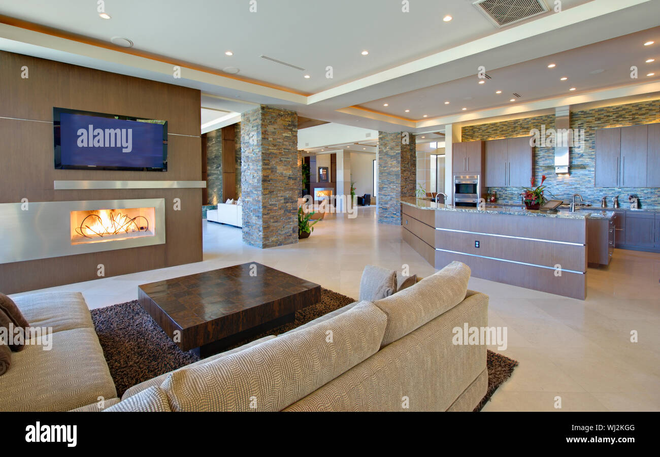 Modern Living Room With Open Kitchen Stock Photo Alamy