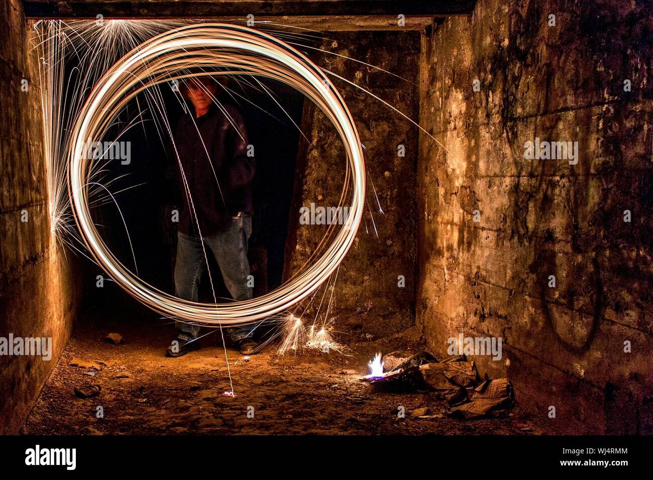 Burning Steel Wool At Night In Room Stock Photo