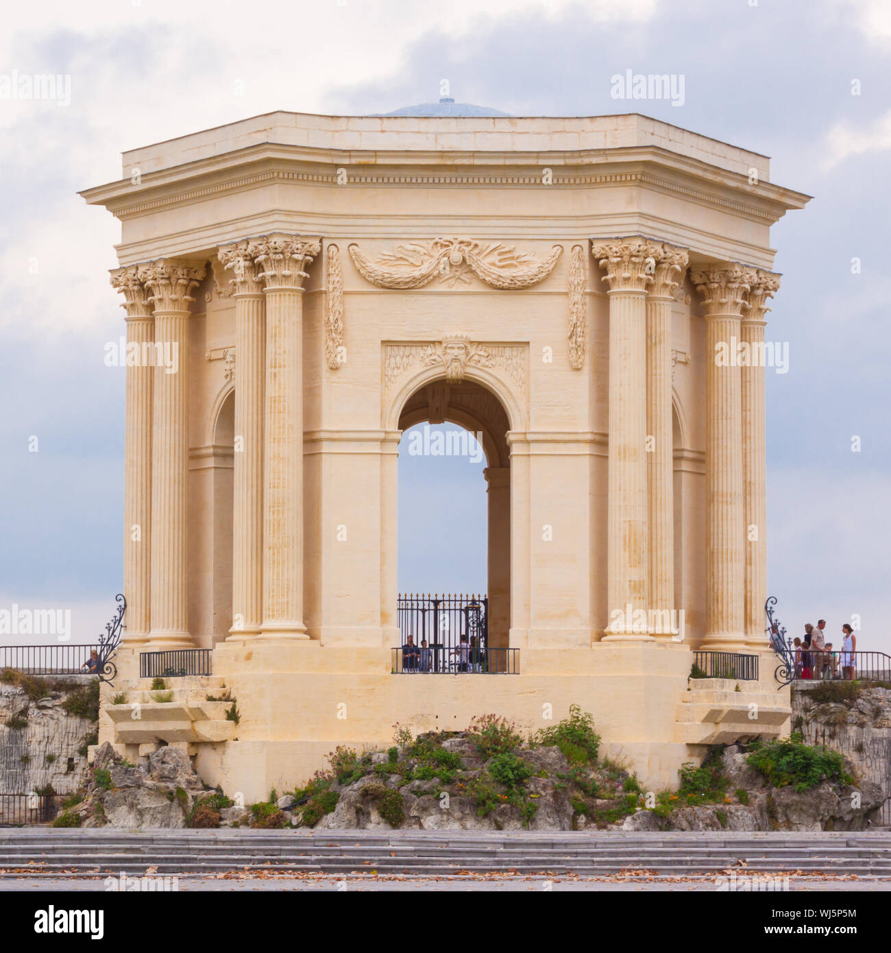Chateau d'Eau palace - water tower in the end of aqueduct in Montpellier, France. Stock Photo