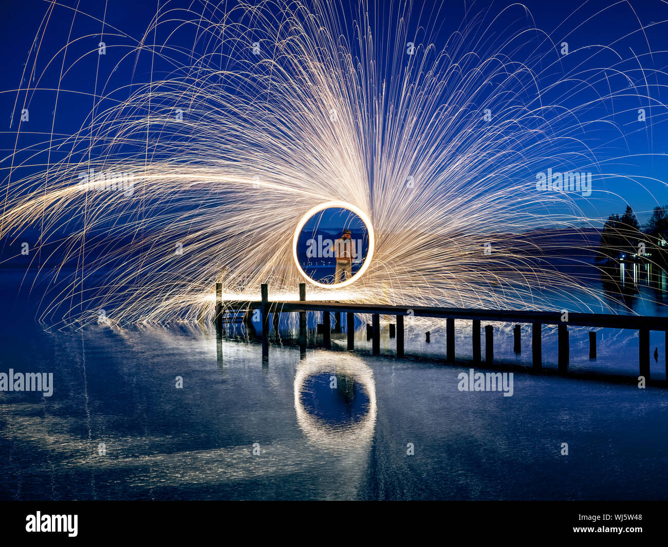 A ring of fire at the lake Stock Photo