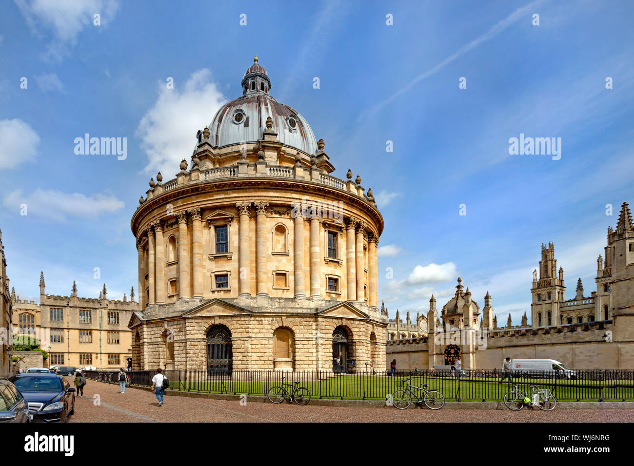 View of the Radcliffe Camera, Brasenose College and All Souls College from Radcliffe Square, Oxford, England, United Kingdom. Stock Photo