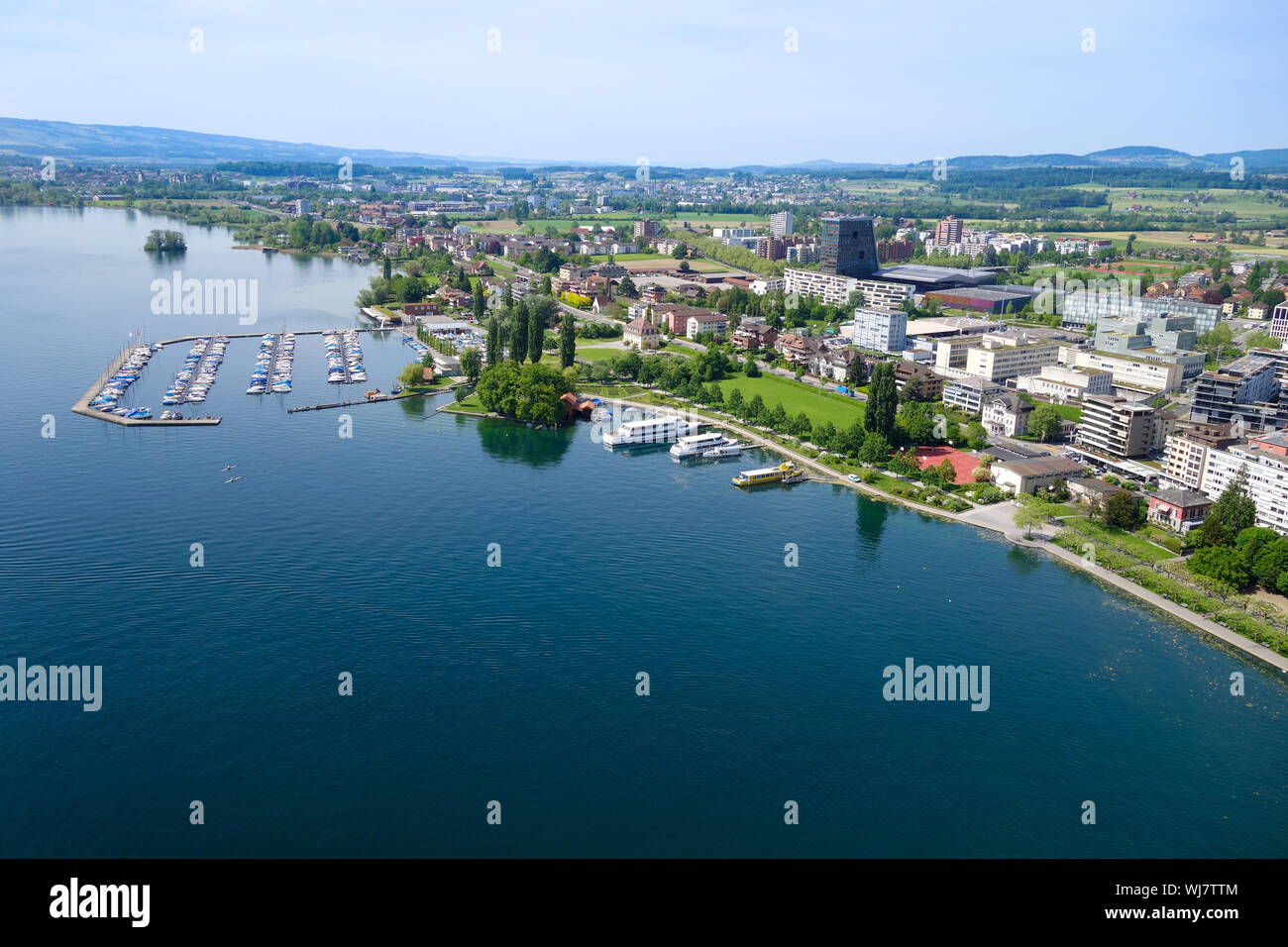 Aerial view of the Zugersee boat harbor Zug Stock Photo