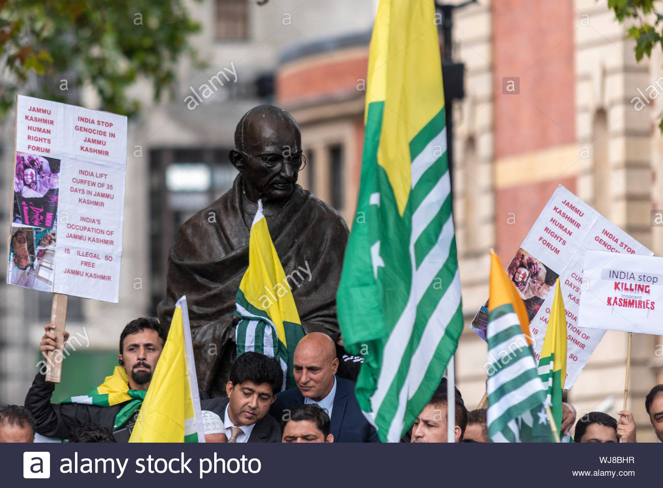 Westminster, London, UK. 3rd September 2019. A protest is taking place demonstrating against the Indian occupation of Jammu and Kashmir, claiming that thousands have been killed and injured by the Indian armed forces. On 5th August Article 370 – which protected the rights of the population of the area – was revoked by the BJP government. Credit: Avpics/Alamy Live News - Stock Photo