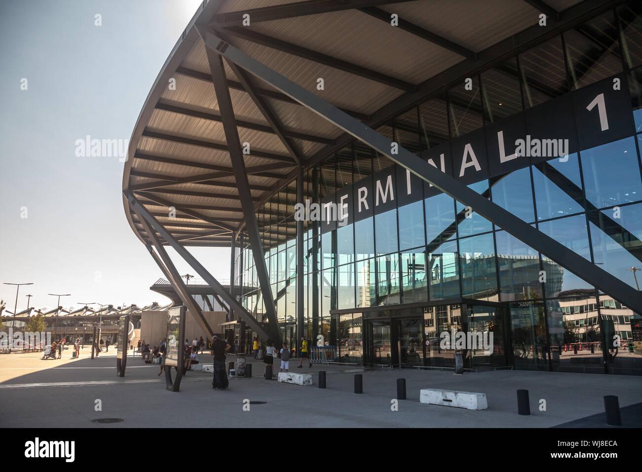 LYON, FRANCE - JULY 13, 2019: Main entrance to Terminal 1 of Aeroport de Lyon Saint Exupery Airport, formerly Satolas, the main international airport Stock Photo