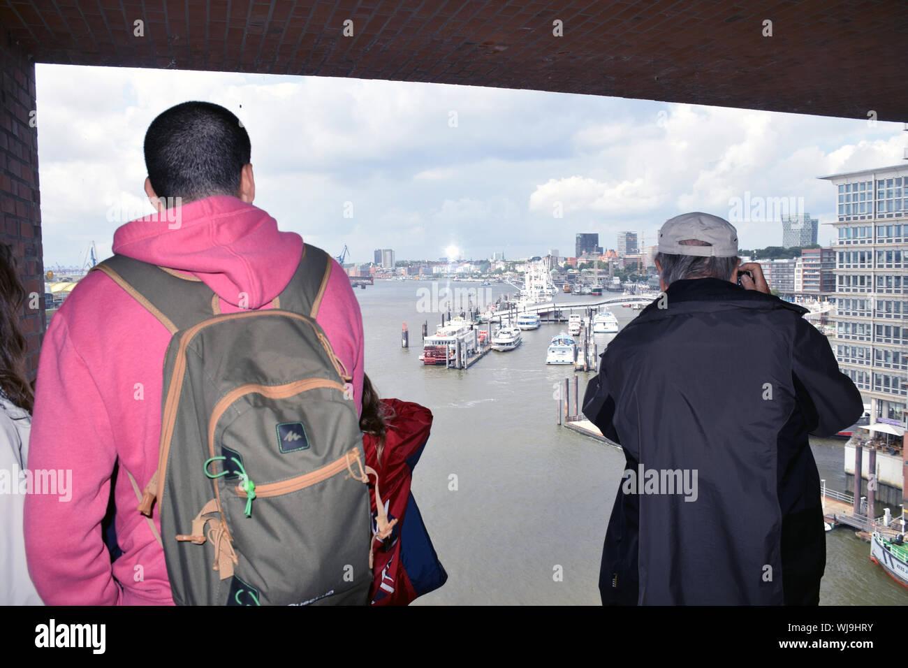 Viewing platform on the new Elbphilharmonie Hamburg (opera house), Germany Aug 2019 Stock Photo