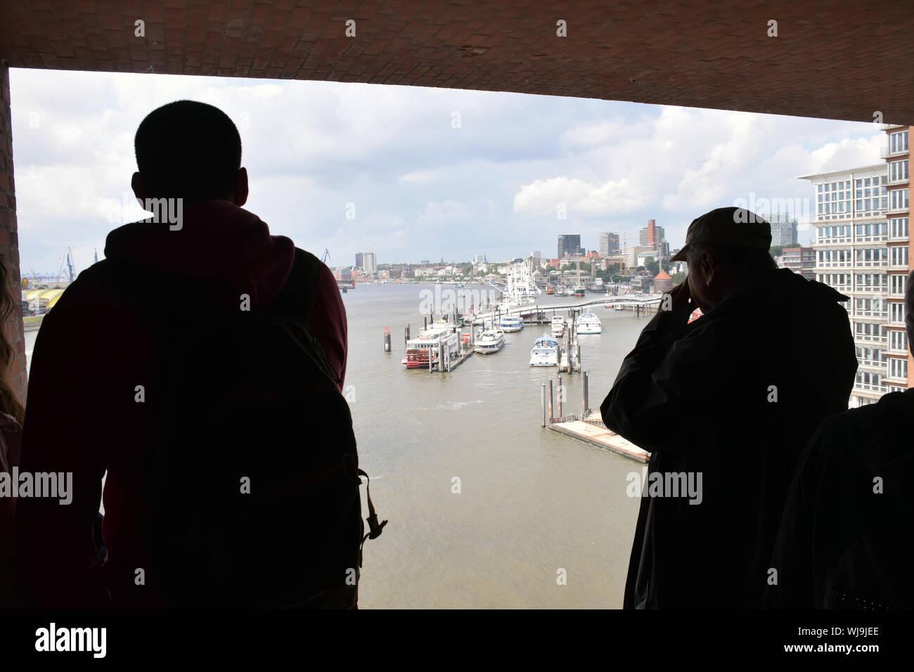 Viewing platform on the new Elbphilharmonie Hamburg (opera house), Germany Aug 2019 - Stock Photo