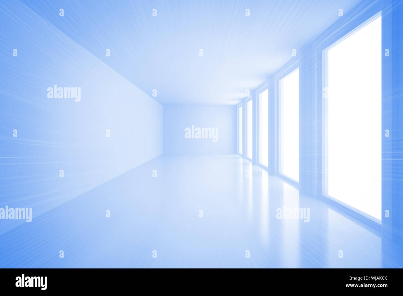 Bright blue room with windows - Stock Photo