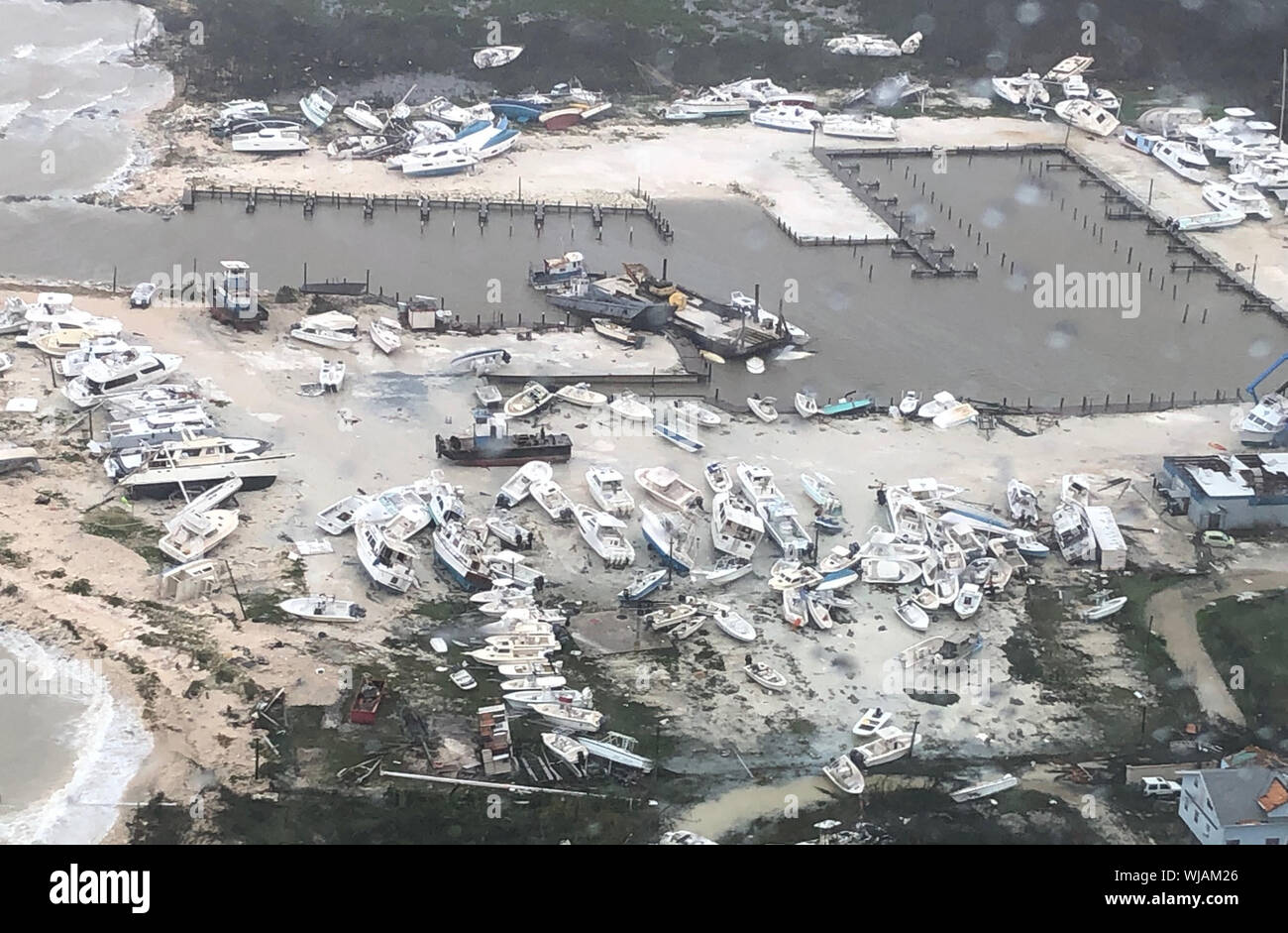 Bahamas. 3rd Sep 2019. U.S Coast Guard Air Station Clearwater forward-deployed four MH-60 Jayhawk helicopter crews in support of search and rescue and humanitarian aid in the Bahamas on September 2, 2019. As Hurricane Dorian makes its way across the Bahamas, the Coast Guard is ready to assist as needed. Photo by U.S. Coast Guard/UPI Credit: UPI/Alamy Live News Stock Photo