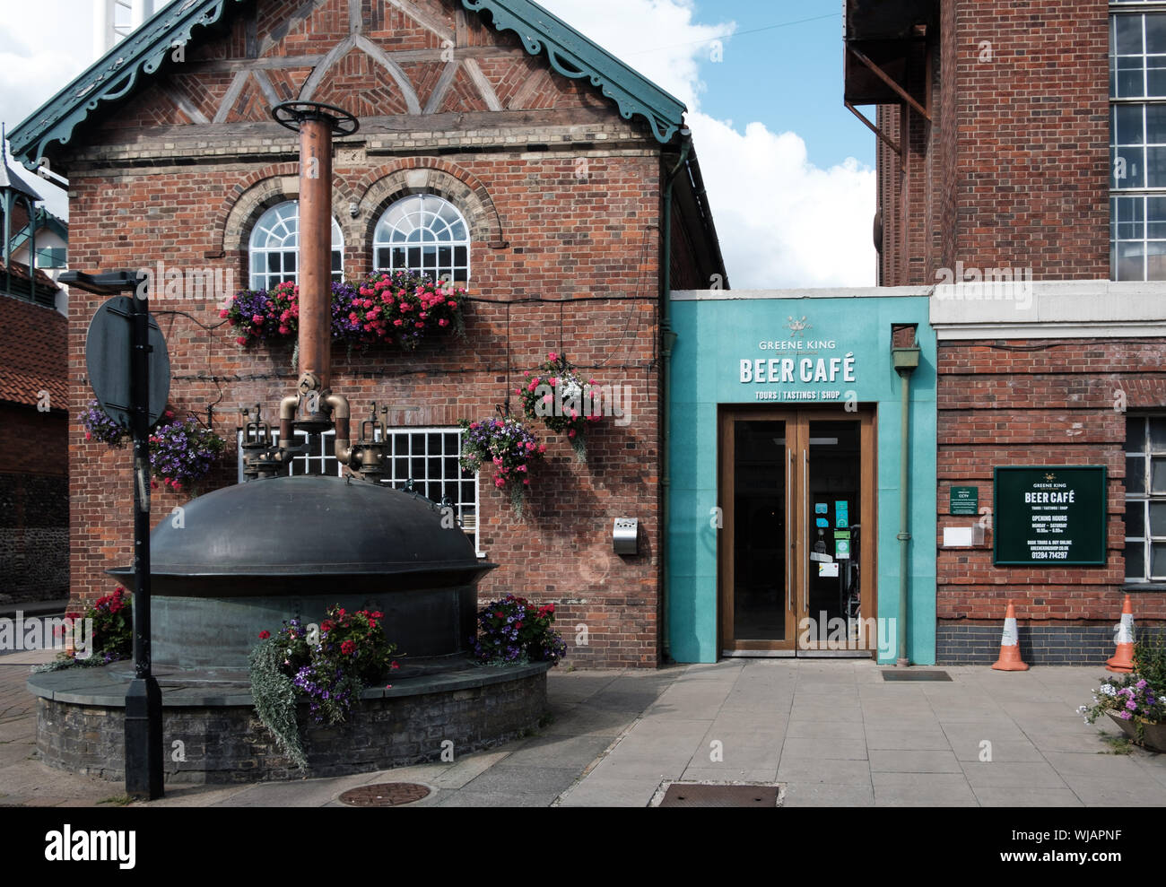 External view of the Beer Cafe and visitor centre with beer copper at the Greene King Westgate Brewery, Bury St Edmunds, Suffolk Stock Photo