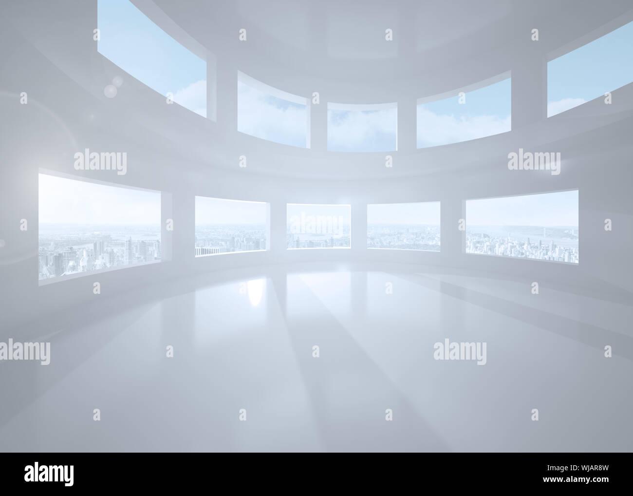 Bright white room with windows Stock Photo