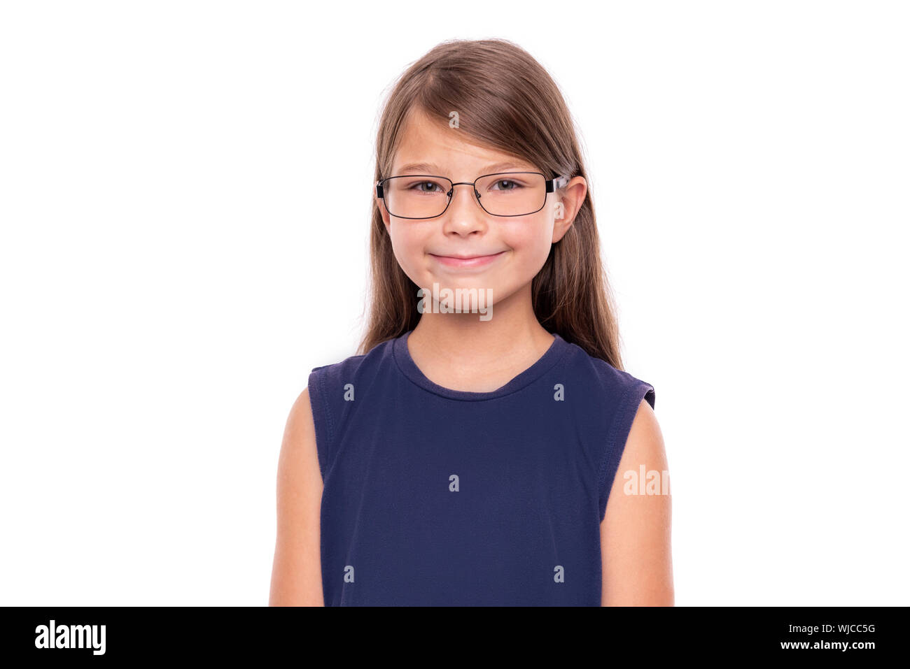 Portrait of a little girl with glasses isolated on white backgroud. Stock Photo