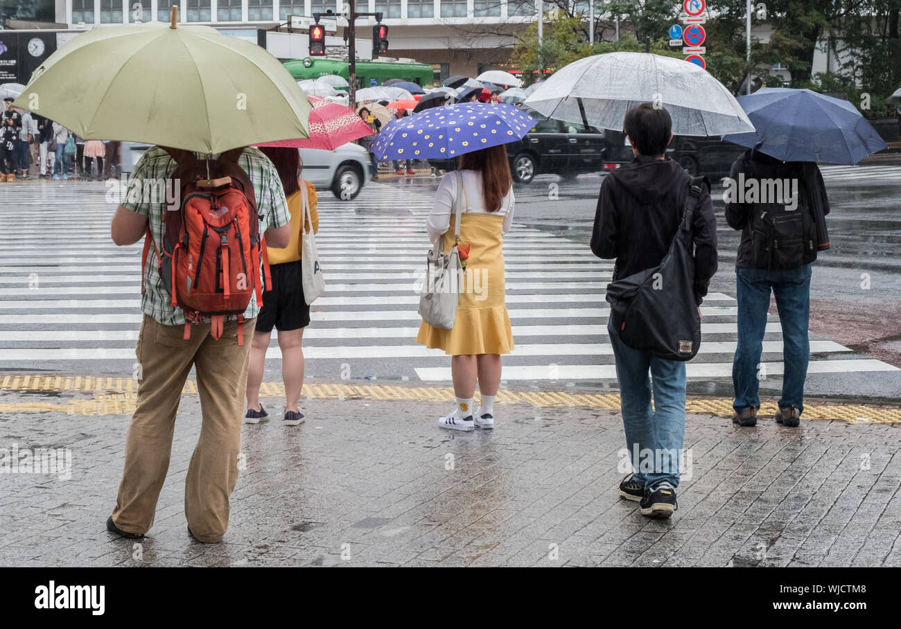 People Holding Umbrellas While Standing On Street During Rainy Season Stock Photo Alamy