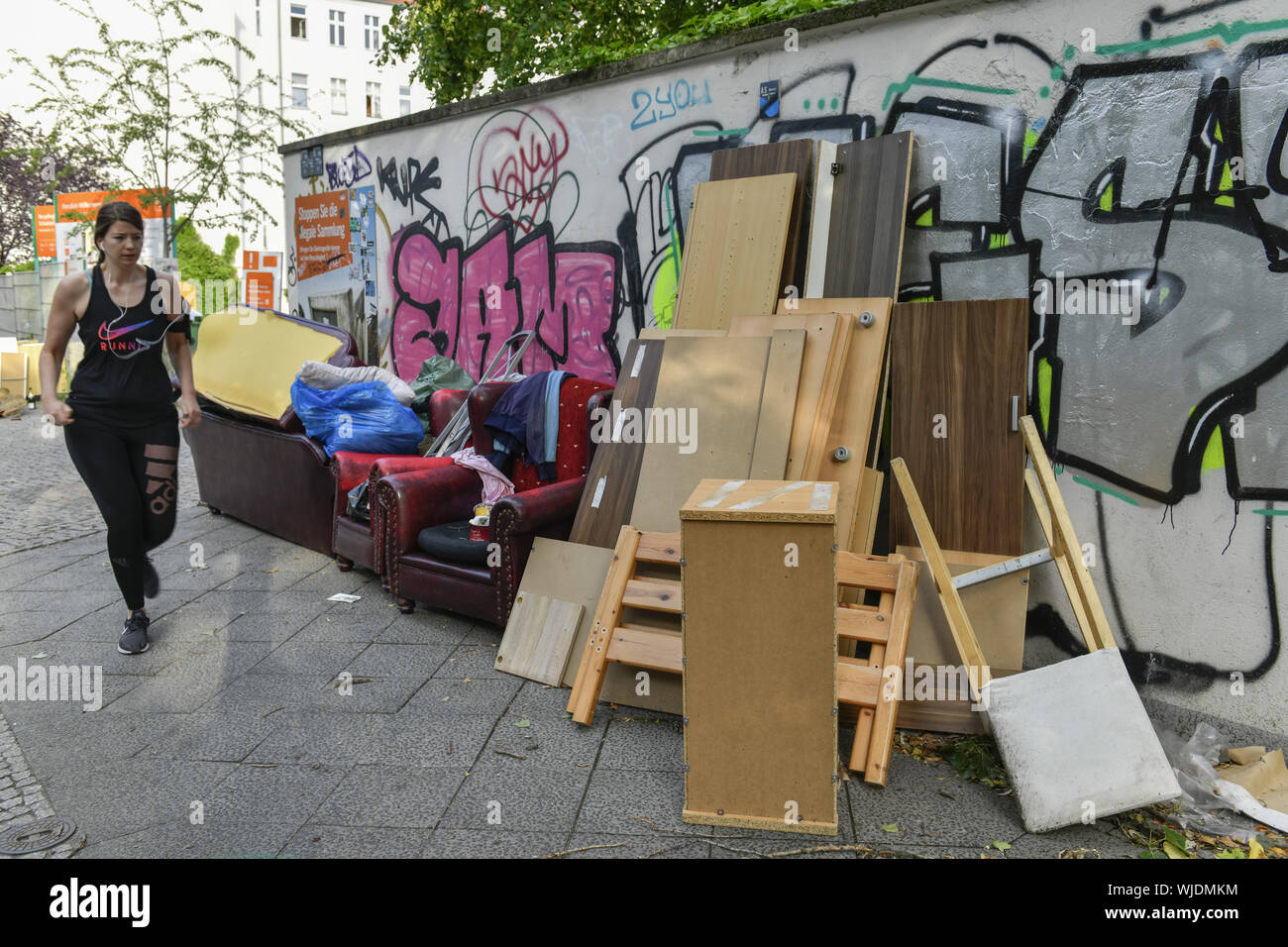 Rubbish, waste disposal, Behmstrasse, Behmstrasse, Berlin, Germany, mud, dirtily, piece of furniture, piece of furniture, garbage, waste disposal, gar Stock Photo