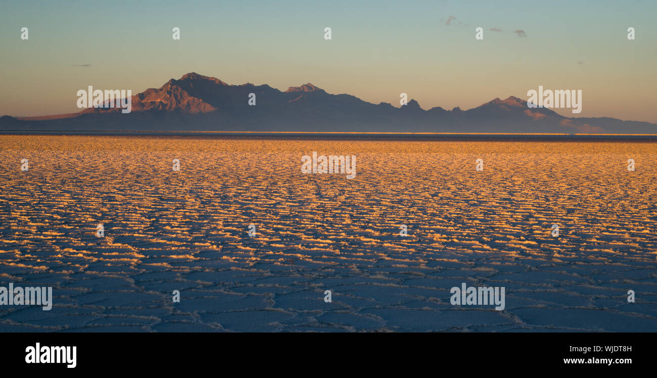 The Bonneville Salt Flats is a densely packed salt pan in Tooele County in northwestern Utah. The area is a remnant of the Pleistocene Lake Bonneville Stock Photo