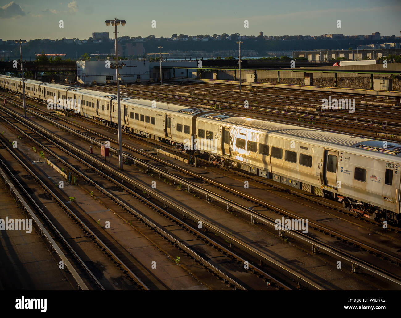Trains on lay-ups and empty tracks in the Hudson Yards leading into Penn Station on Saturday, August 30, 2019. (© Richard B. Levine) Stock Photo