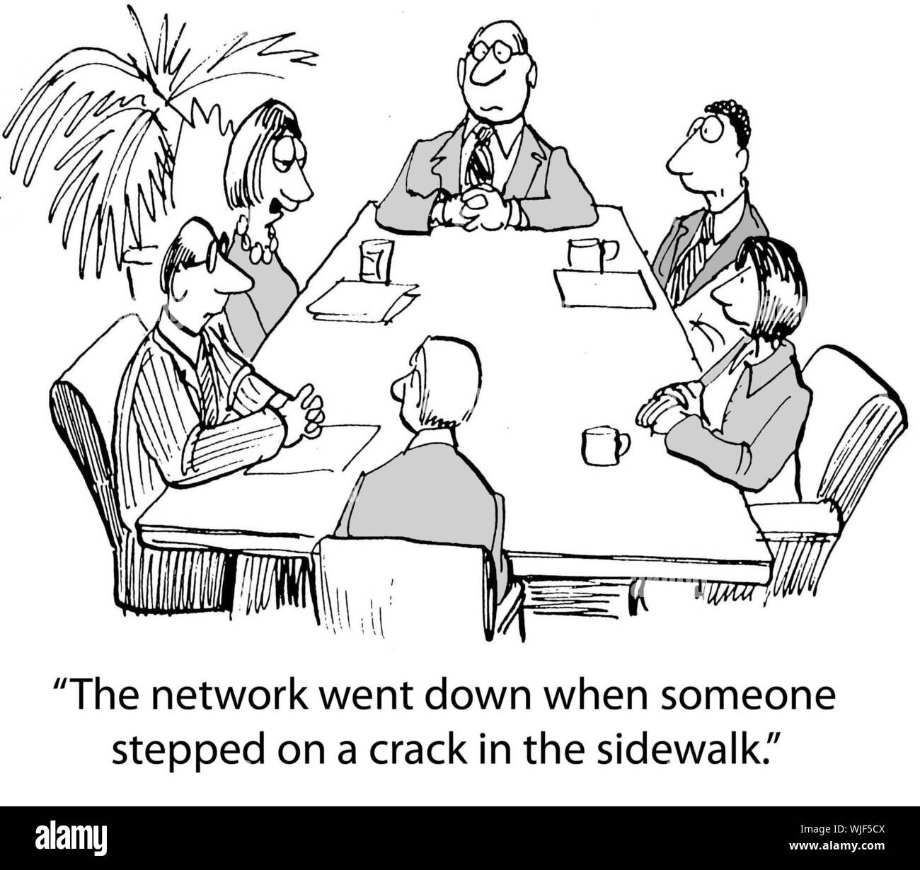 """""""The network went down when someone stepped on a crack in the sidewalk."""" Stock Photo"""