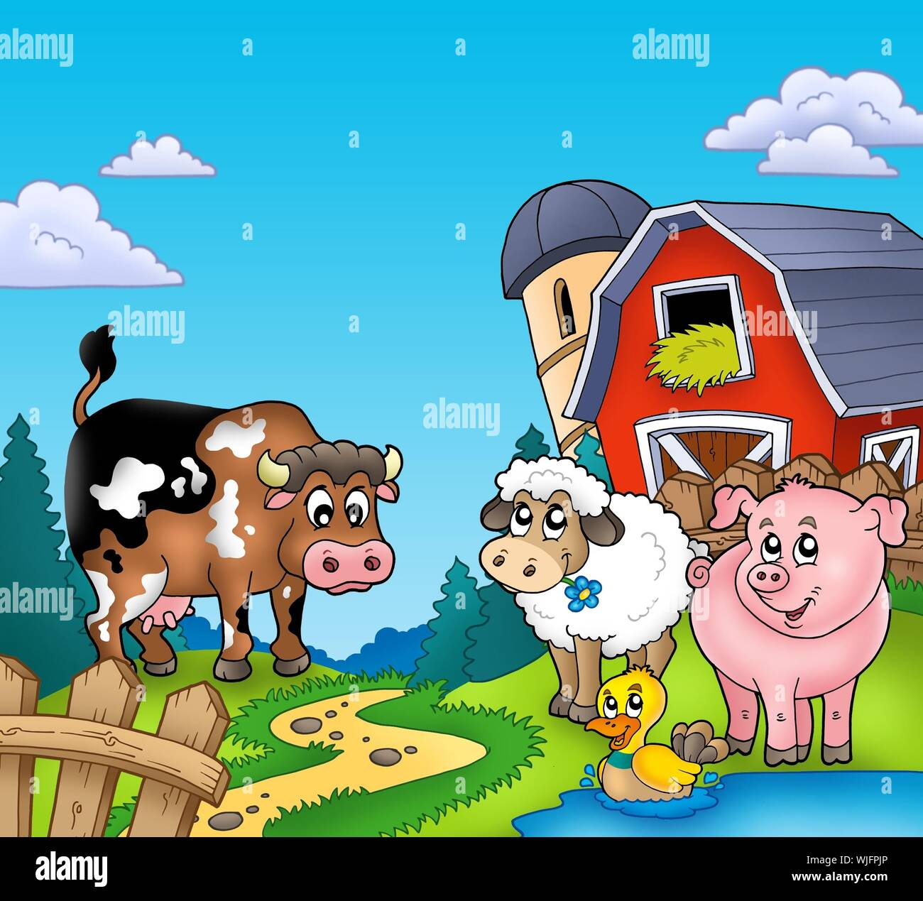 Red barn with farm animals - color illustration Stock Photo ...