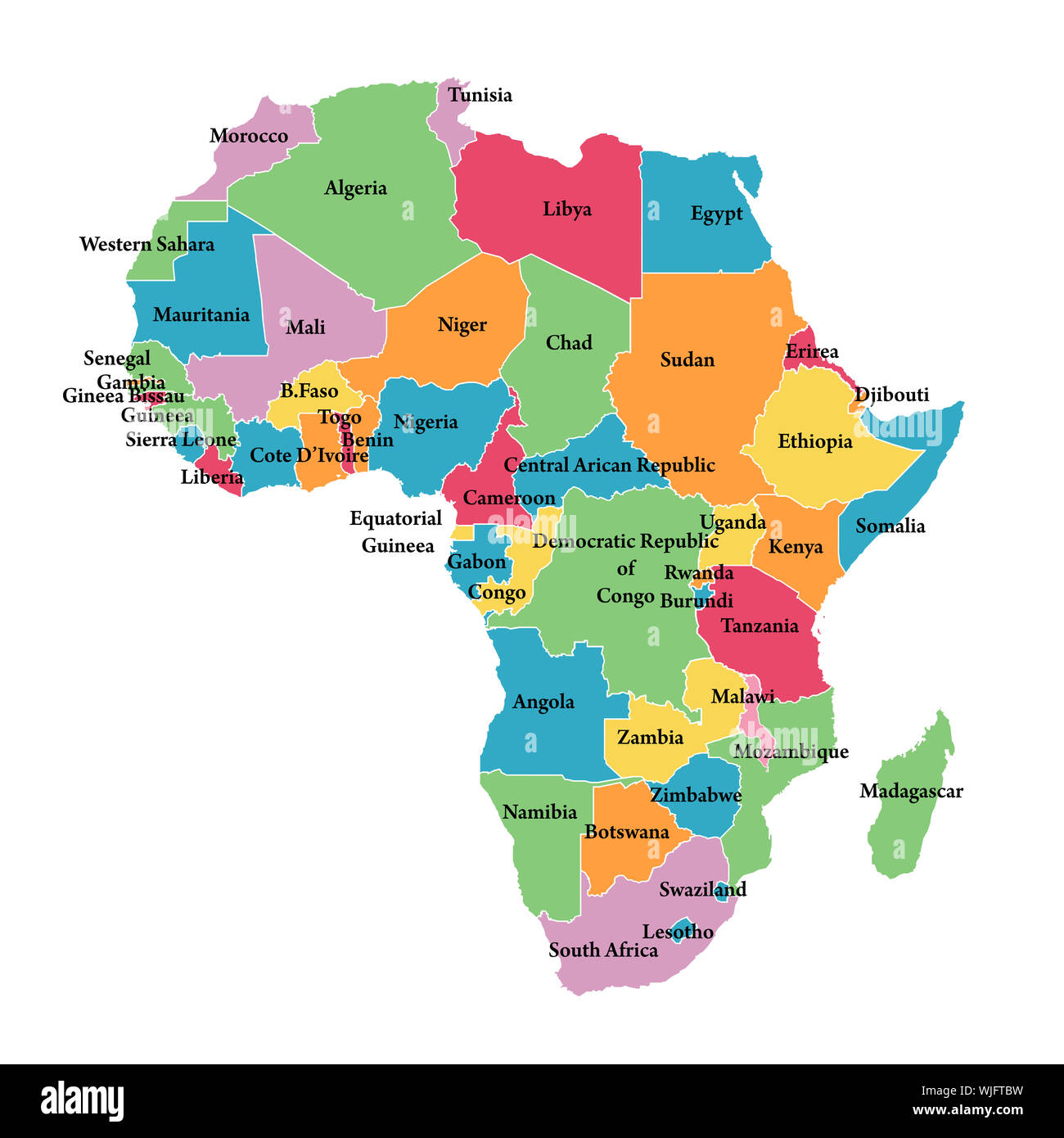 Africa Borders Map Editable map of Africa with border outlines Stock Photo   Alamy
