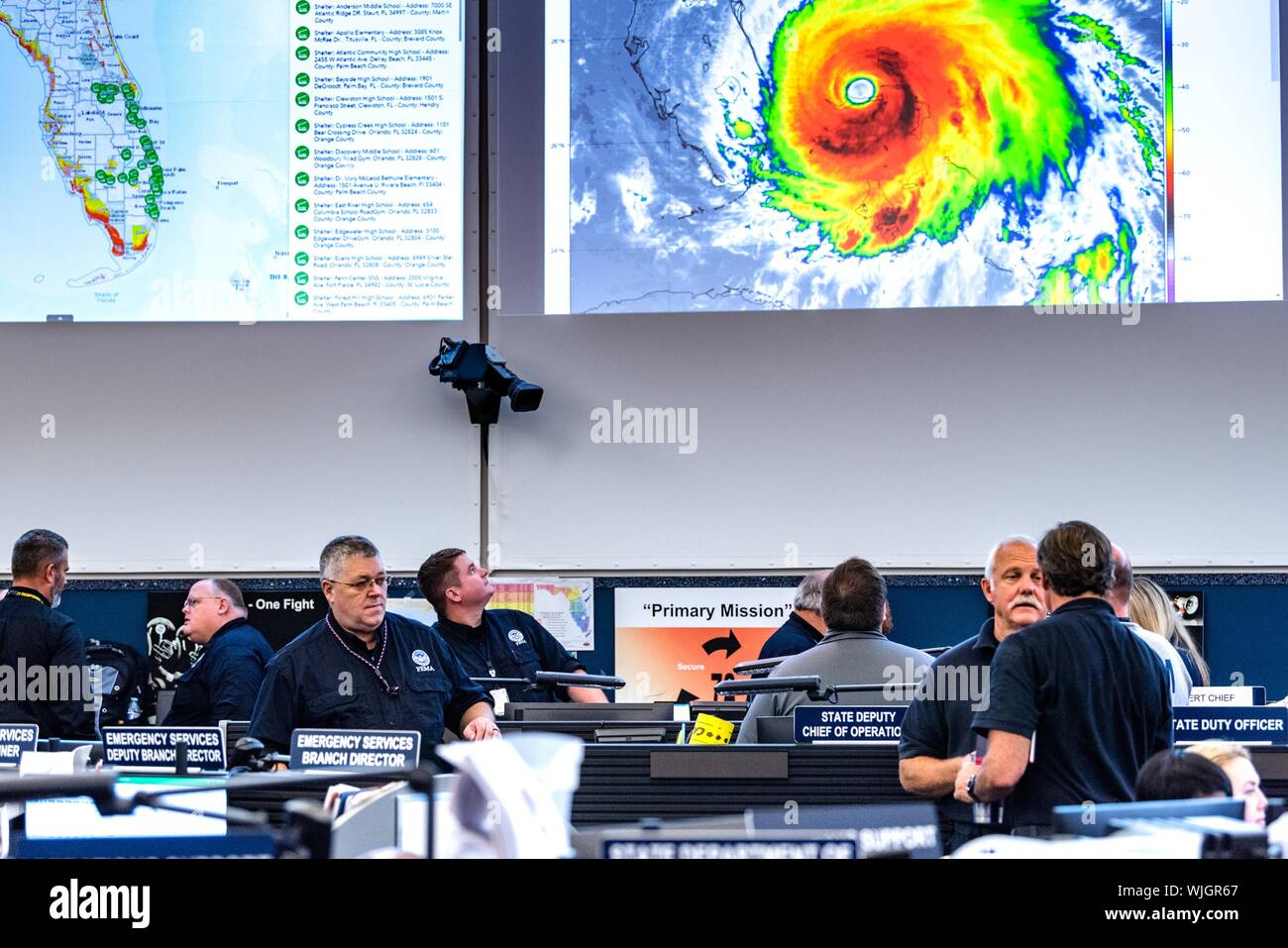 Tallahassee, FL, Sept. 2, 2019--FEMA works with their federal, state and local partners to prepare for the landfall of Hurricane Dorian, September 2, 2019. K.C. Wilsey/FEMA. () Stock Photo