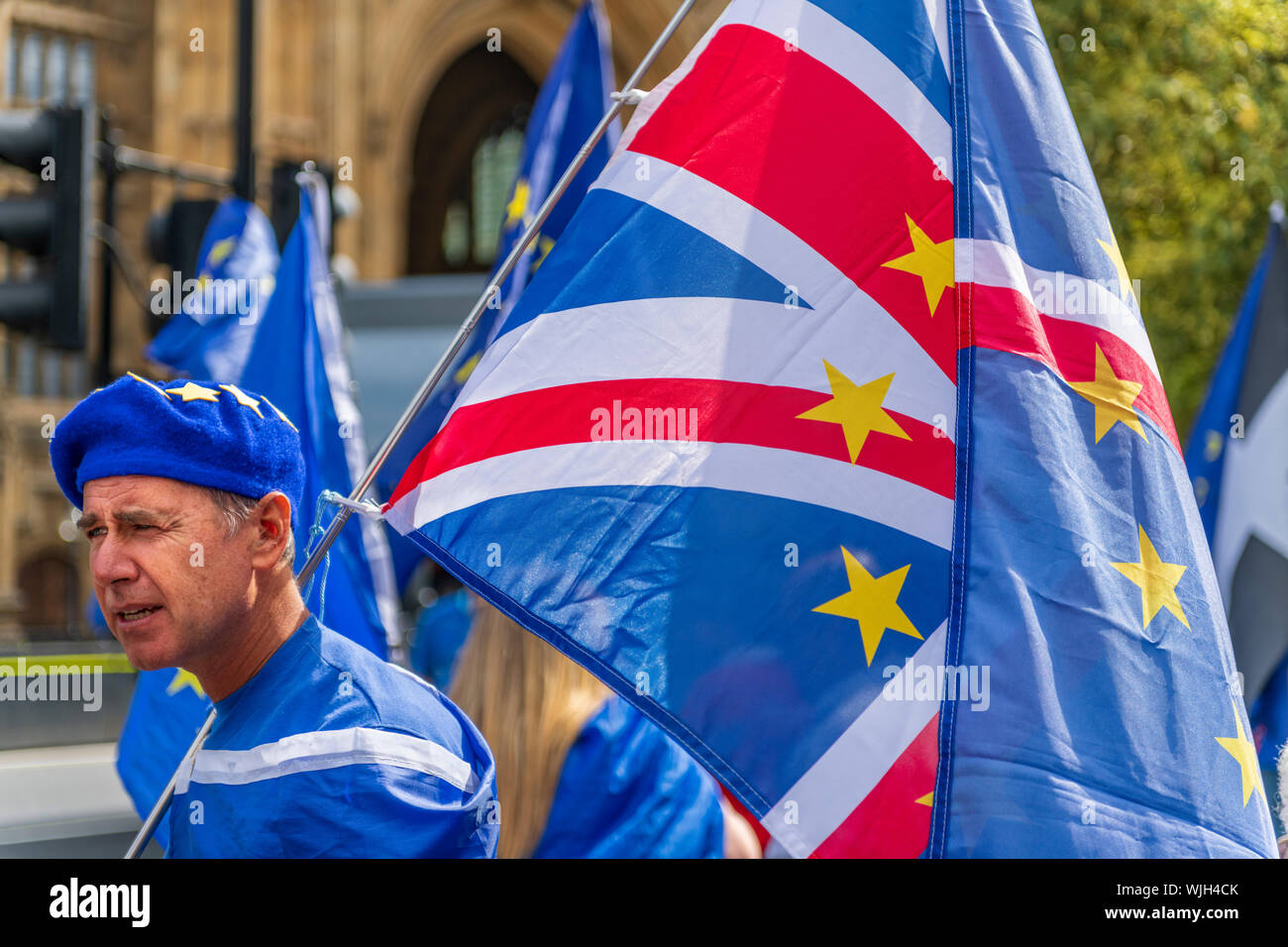 Westminster, London, England. 3rd September, 2019. A Stop Brexit demonstrator joins fellow protestors at a 'Stop the Coup' rally outside the Houses of Parliament. Terry Mathews/Alamy Live News Stock Photo