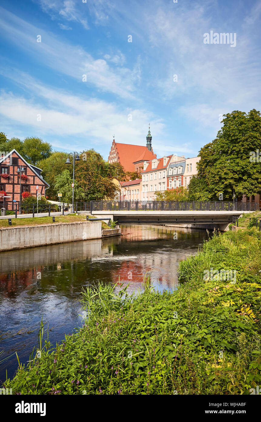 Brda river canal at Mlynska Island (Mill Island) in Bydgoszcz, Poland. Stock Photo