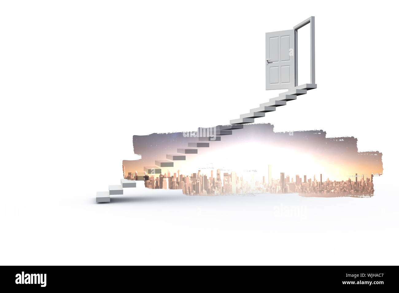 Abstract screen in room showing cityscape Stock Photo
