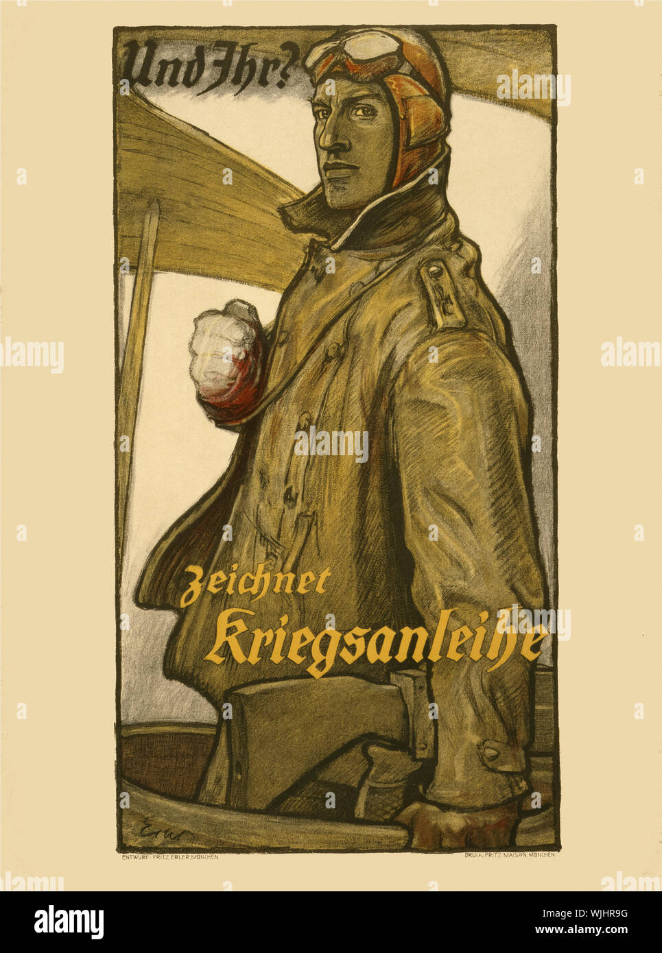 A German First World War Two poster featuring a pilot from the Deutsche Luftstreitkräfte (German Air Force) to buy War Bonds to support the country's war effort. Stock Photo