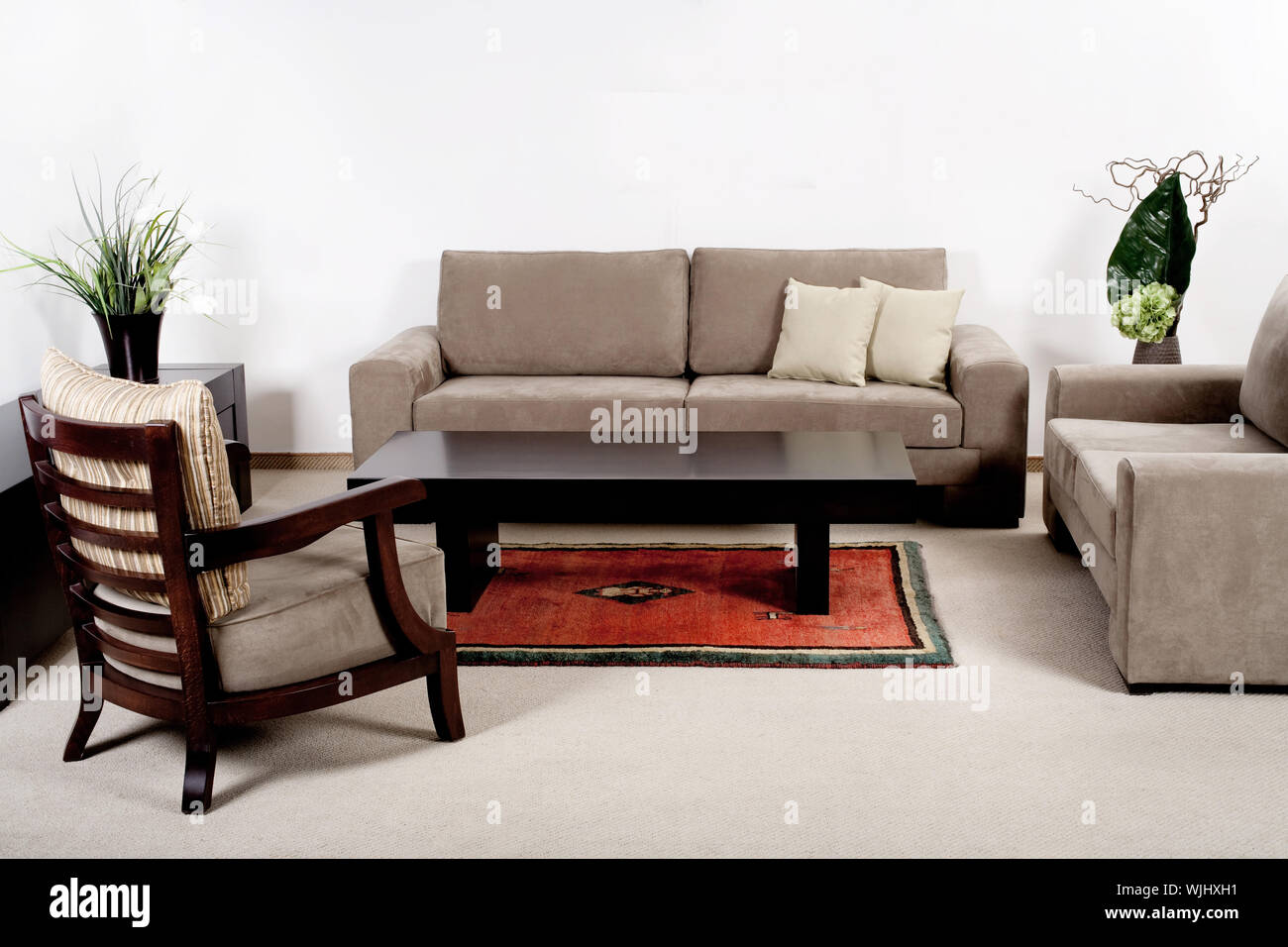 Well Decorated Modern Living Room Interior With Brownish