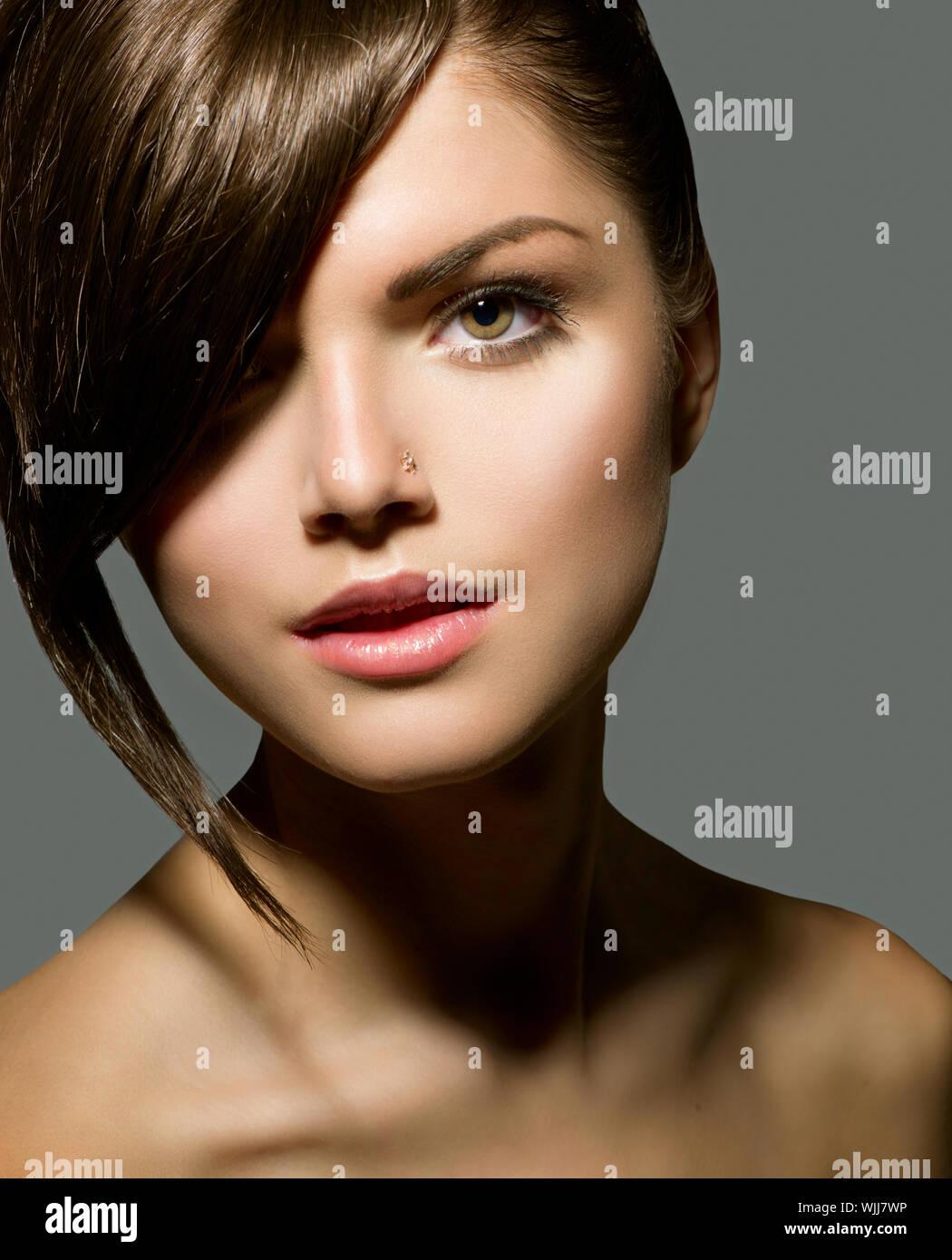 Stylish Fringe Teenage Girl With Short Hair Style Stock Photo Alamy