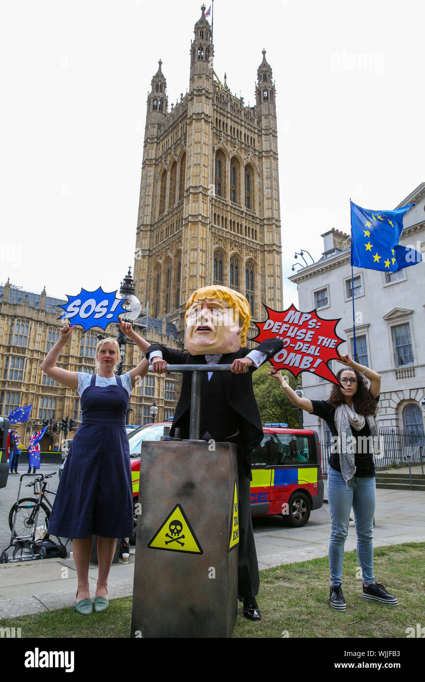 A man is seen dressed as British Prime Minister Boris