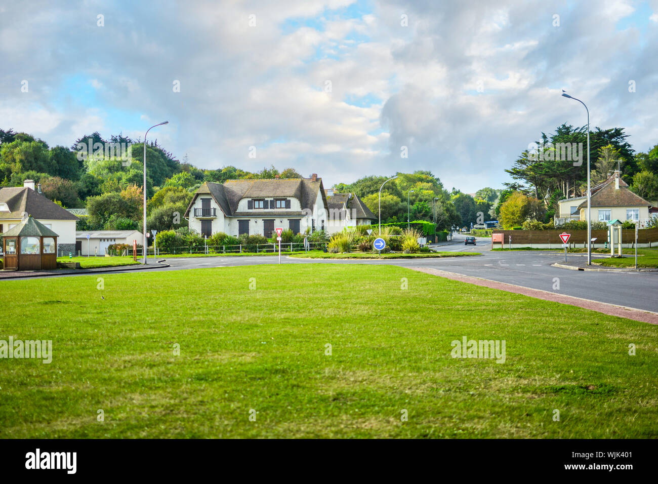 The French village of Vierville-sur-Mer along the coast of the English Channel in Normandy, site of the famous Omaha Beach 1944 D Day invasion. Stock Photo
