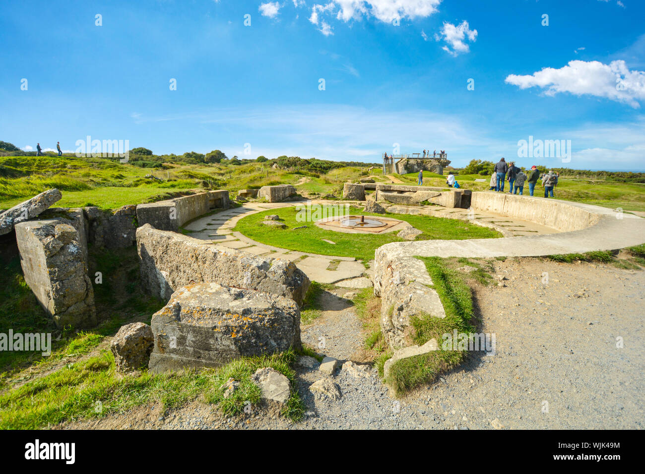 The remains of a german bunker at Pointe du Hoc, the location of the allied invasion of Normandy, France on the coast of the English Channel Stock Photo