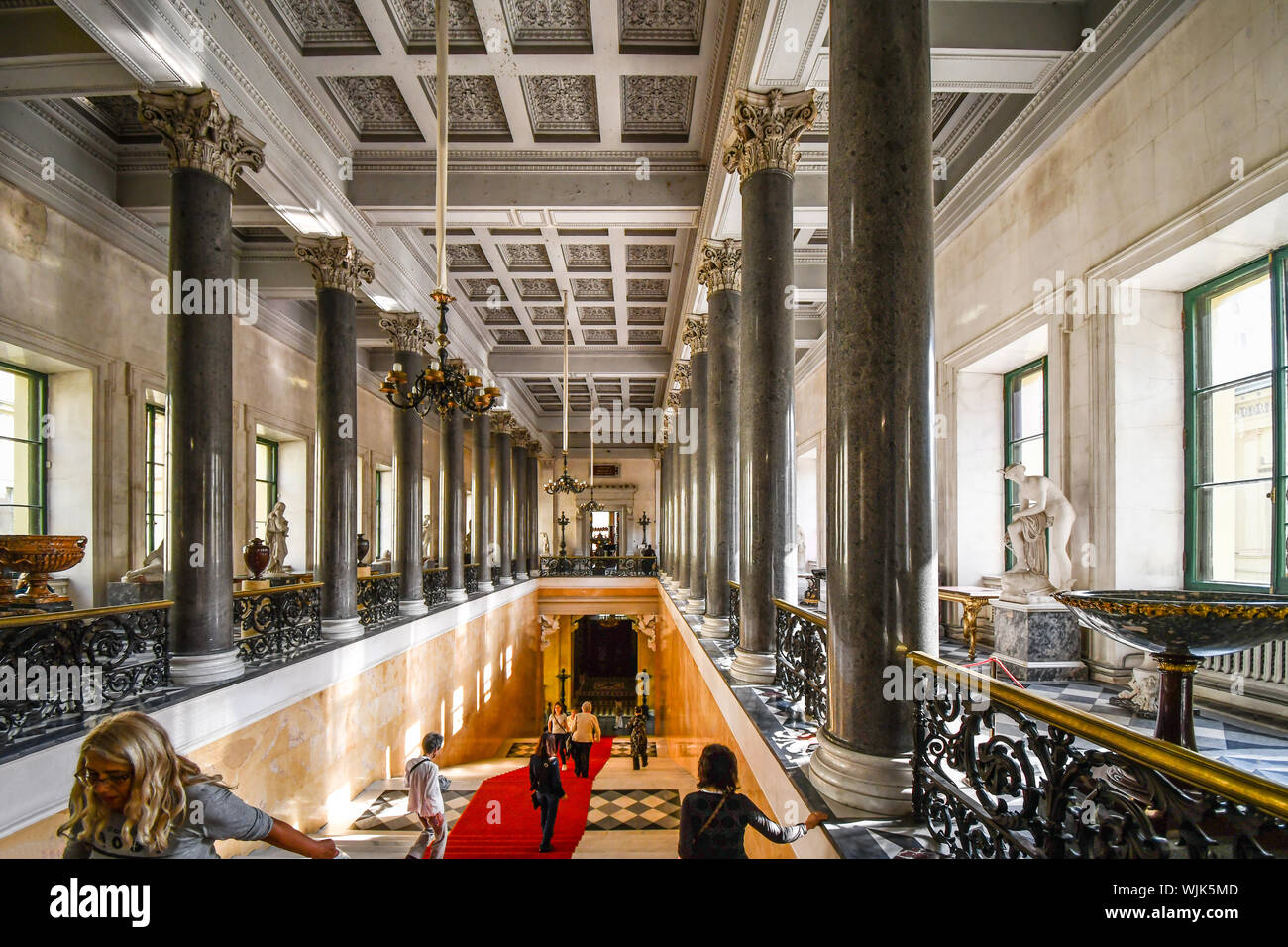 St. Petersburg, Russia - September 8 2018: The interior and hallway of the Winter Palace in the Hermitage Museum in St Petersburg Russia. Stock Photo