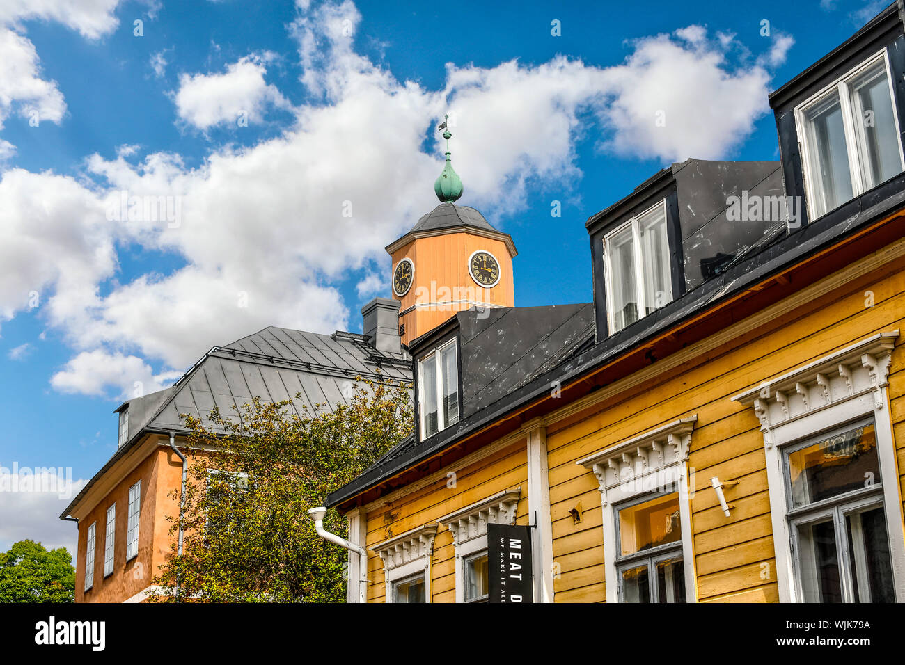Porvoo, Finland - September 9 2018: The clock tower of the medieval Holmin Talo, the museum located on the main square of Porvoo, Finland Stock Photo