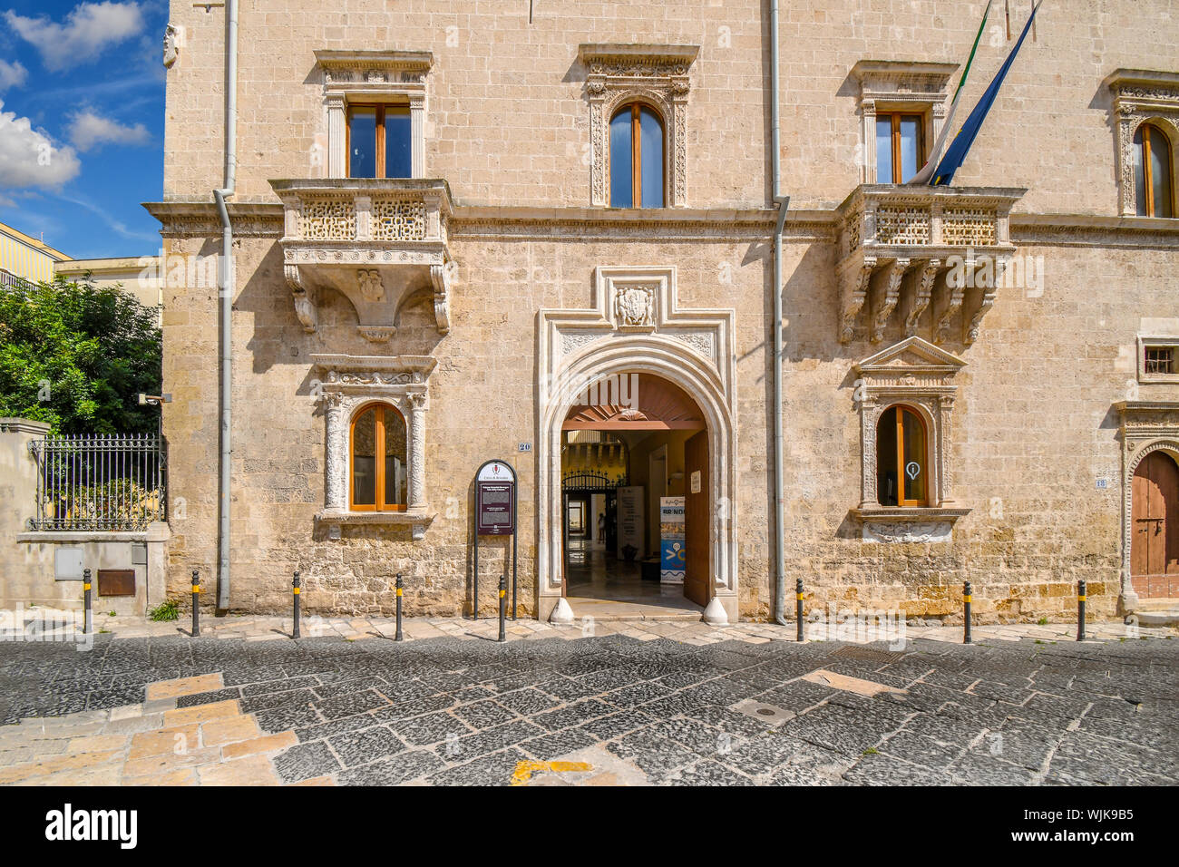 The front facade of the Palazzo Granafei-Nervegna, A 16th-century Renaissance-style palace in the coastal city of Brindisi Italy, in the Puglia region Stock Photo