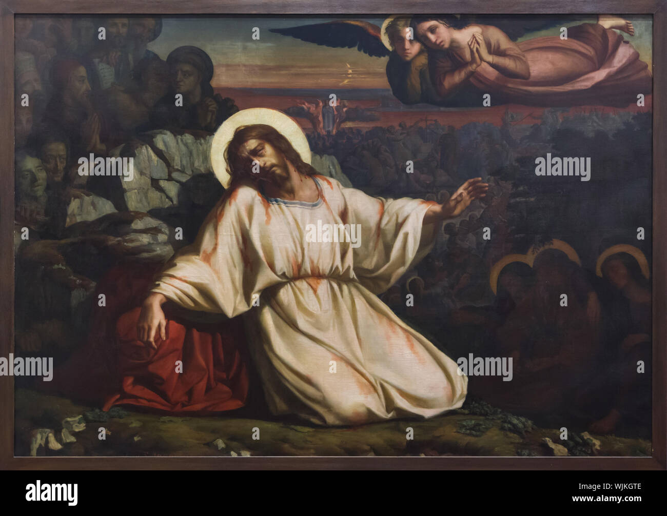 Painting 'Agony in the Garden' by French symbolist painter Louis Janmot on display in the Museum of Fine Arts (Musée des Beaux-Arts de Lyon) in Lyon, France. Stock Photo