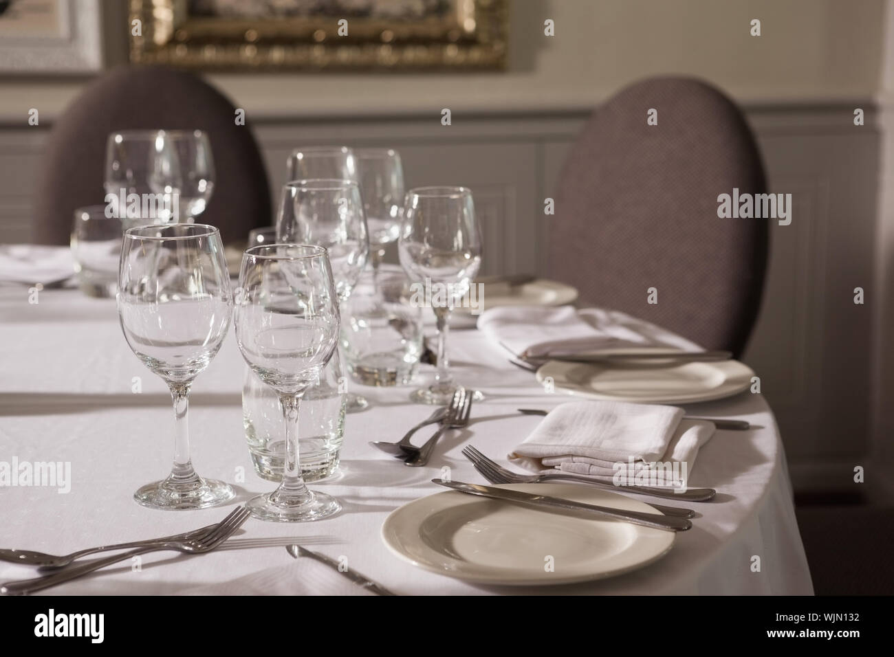 Table Set For Dinner Service In A Fancy Restaurant Stock Photo Alamy