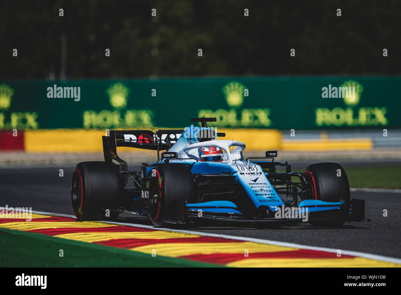 #63, George Russell, GBR, Williams,  in action during the Belgian Grand Prix at Spa Francorchamps - Stock Photo