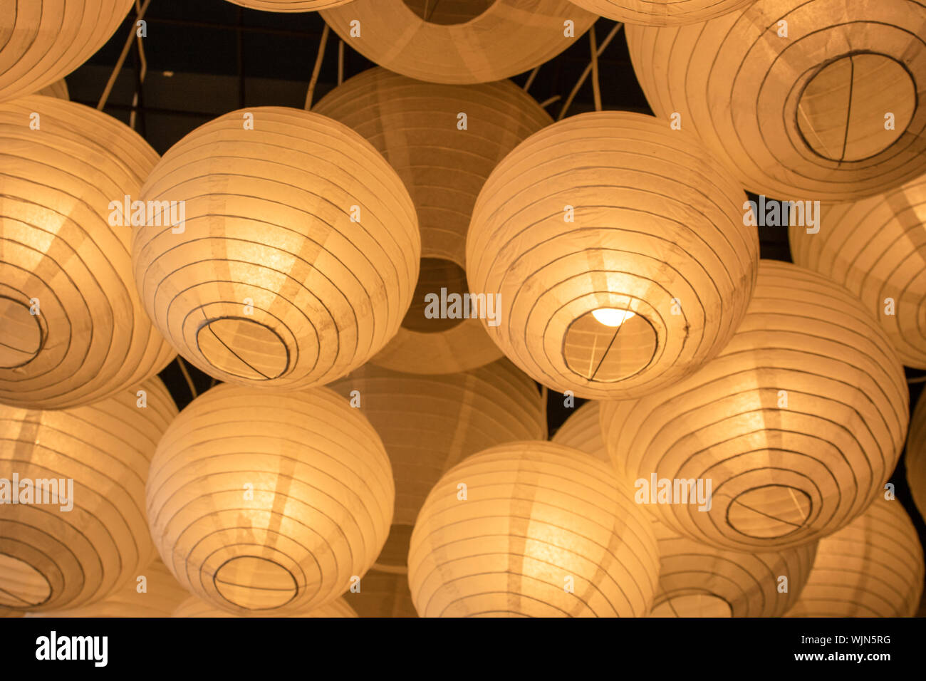 It Was Filmed Inside The Restaurant Paper Lamps In Yellow Color There S More Than One Stock Photo Alamy