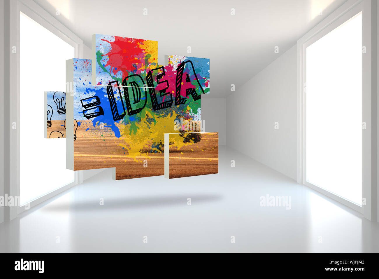 Idea on abstract screen against bright hall with windows Stock Photo