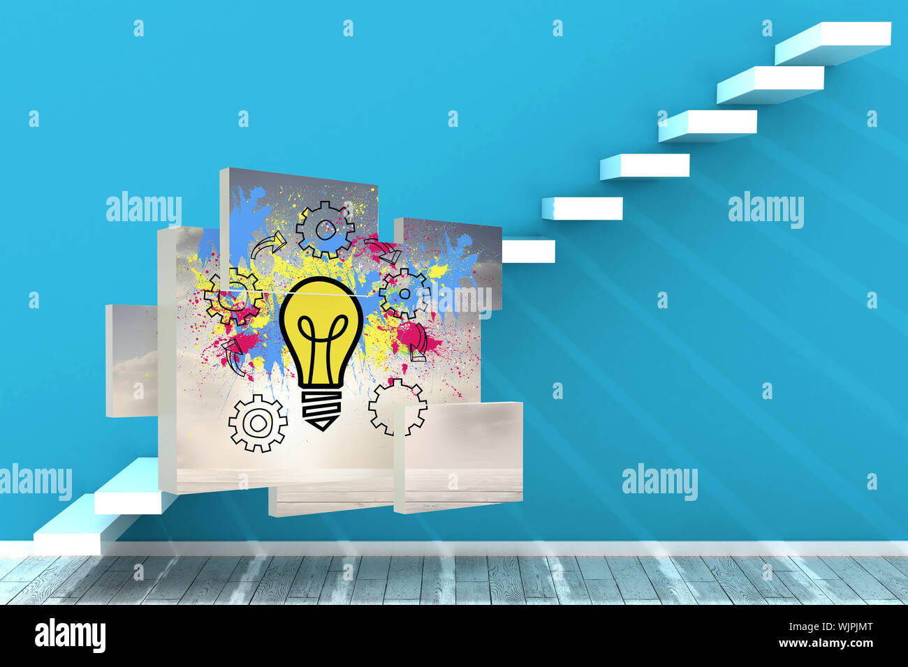 Light bulb on abstract screen against steps in a blue room Stock Photo
