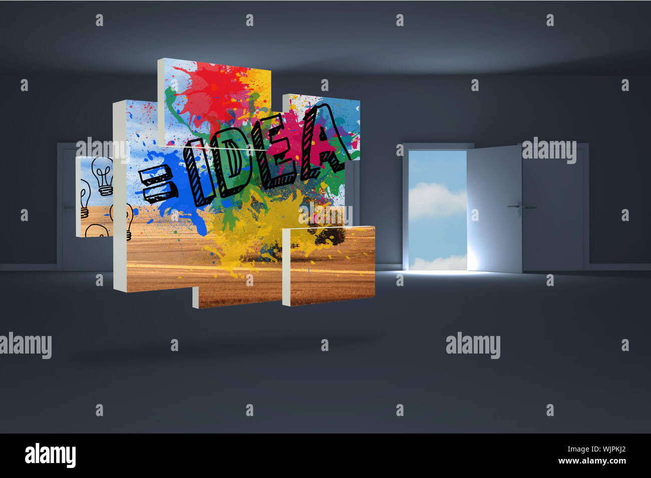 Idea on abstract screen against doors opening in dark room to show sky Stock Photo